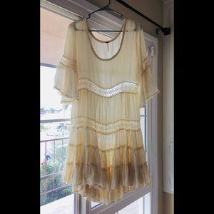 Free People cream boho loose swing dress Medium